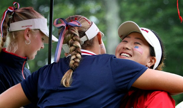 Alexis Thompson (left) and Jennifer Song during Day 2 of the Curtis Cup.