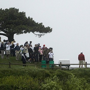 Dustin Johnson tees off on the seventh hole Monday during a practice round for the U.S. Open at Pebble Beach.