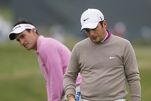 Edoardo and Francesco Molinari play a practice round for the U.S. Open at Pebble Beach.
