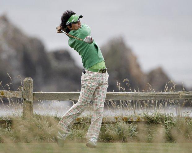 Ryo Ishikawa hits a drive during a U.S. Open practice round.