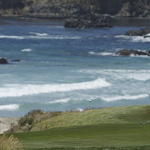Steve Stricker hits into the 10th hole Wednesday at Pebble Beach.