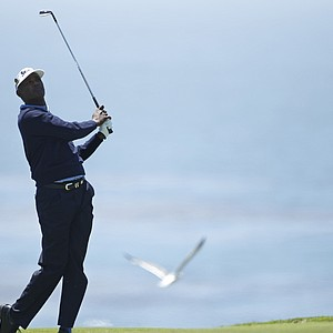 Vijay Singh during a practice round for the U.S. Open.