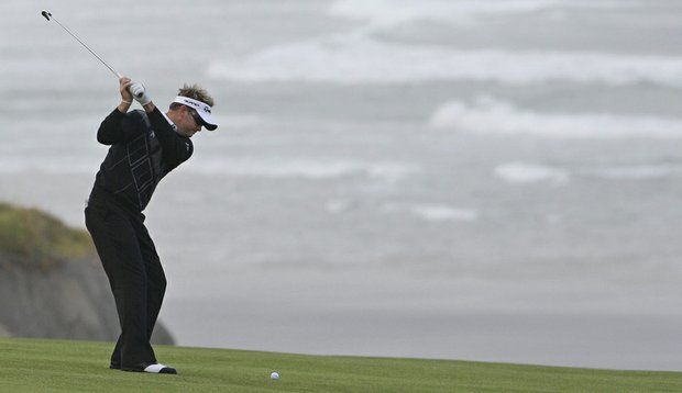Brian Gay hits a shot at No. 10 – his first hole – during the first round of the U.S. Open.