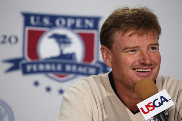 Ernie Els of South Africa is interviewed during a press conference prior to the start of the 110th U.S. Open at Pebble Beach.