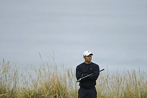 Tiger Woods waits on the 10th tee during the second round of the U.S. Open.