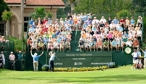 Phil Mickelson tees off at The Players Championship.