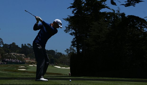 Jason Preeo hits a shot at during his U.S. Open practice round.
