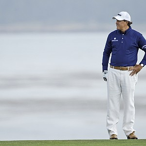 Phil Mickelson stands at the eighth hole during Round 3 of the U.S. Open.