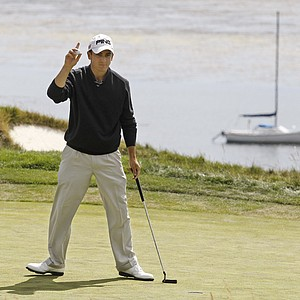 NCAA champion Scott Langley, a rising senior at Illinois, reacts to a birdie at the fourth hole at Pebble Beach.