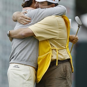 Graeme McDowell hugs caddie Ken Comboy after winning the U.S. Open.