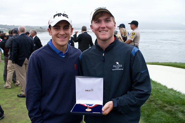 Scott Langley and Russell Henley after the final round of the U.S. Open.