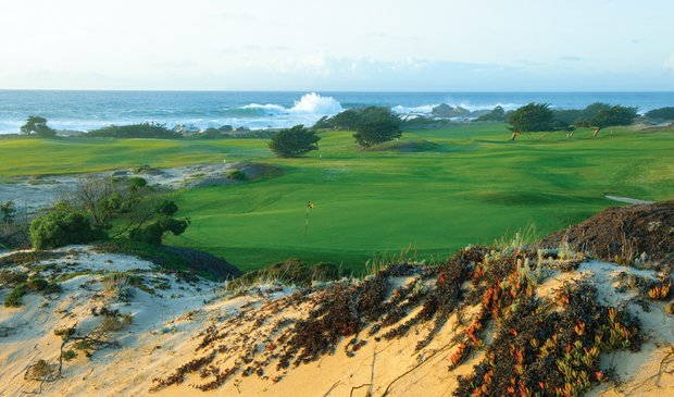The 13th hole at Pacific Grove Golf Course plays along the crashing waves of the Pacific Ocean.