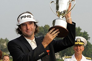 Bubba Watson celebrates his victory June 27 at the Travelers Championship.