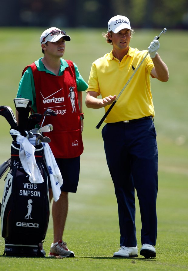 Webb Simpson and caddie Williams Kane during the third round of the Verizon Heritage.