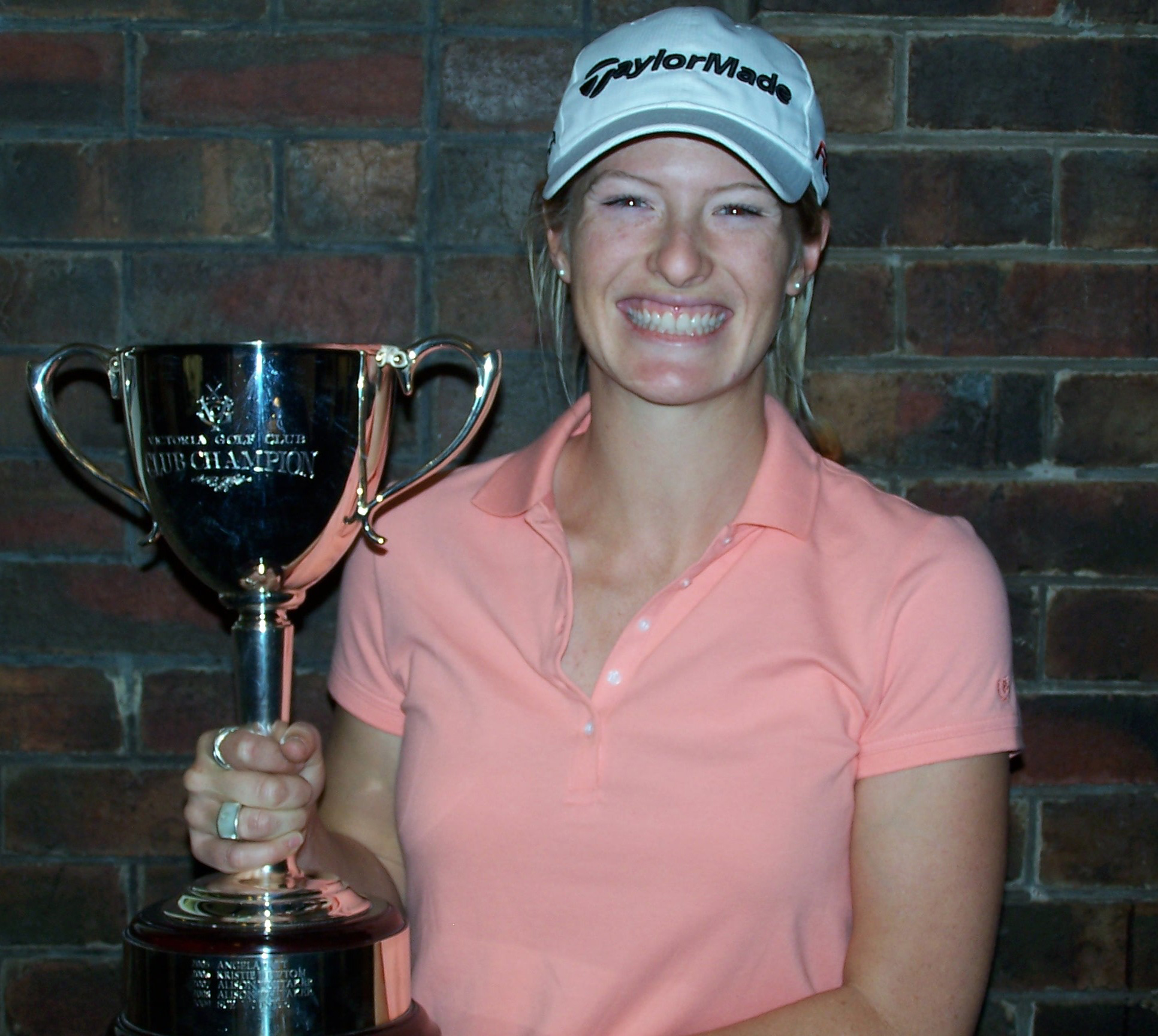 Alison Whitaker with the Victoria Golf Club Championship trophy.
