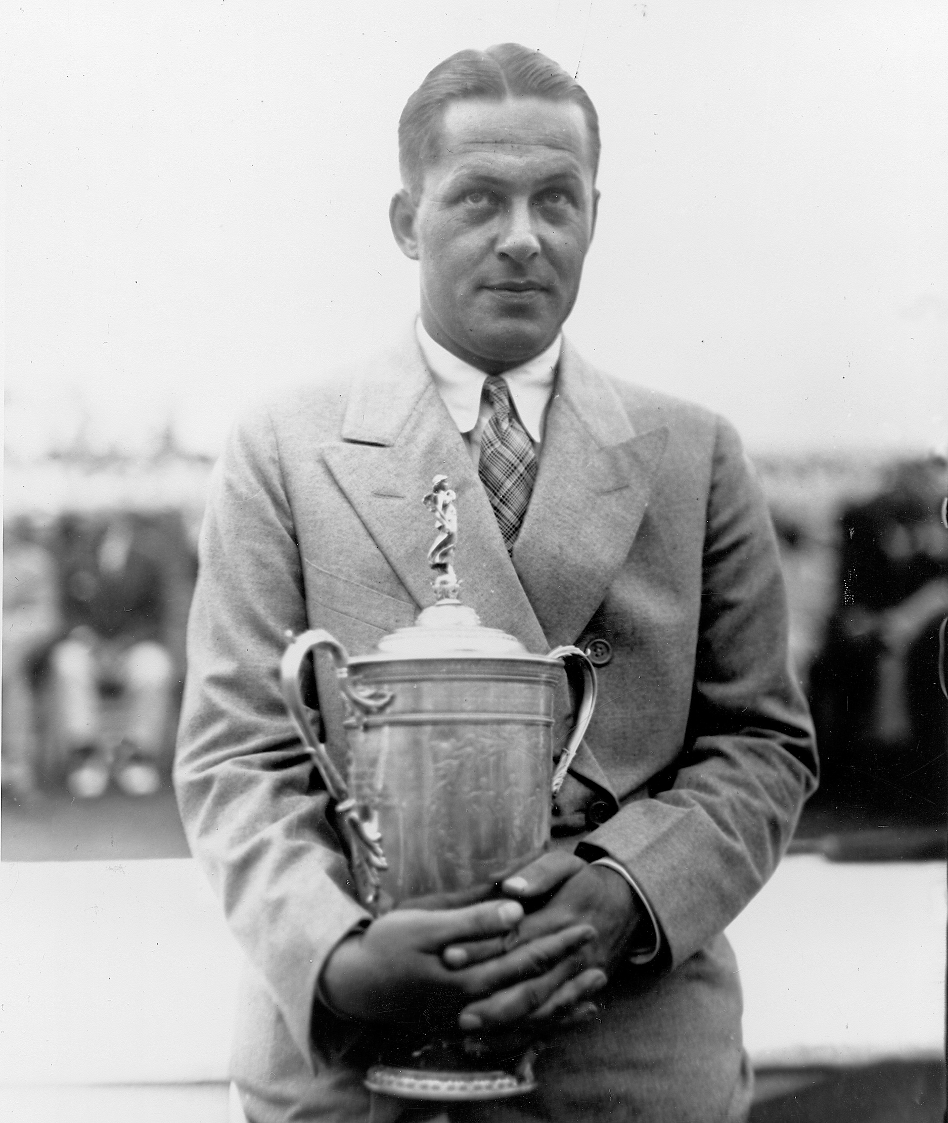 Bobby Jones poses with his British Amateur trophy in 1930.
