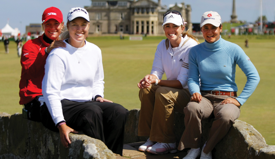 Suzann Pettersen (left), Brittany Lincicome, Paula Creamer and Lorena Ochoa at St. Andrews in 2007.