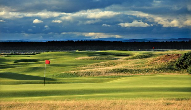 The view from behind the 12th green at The Old Course, looking toward No. 11.