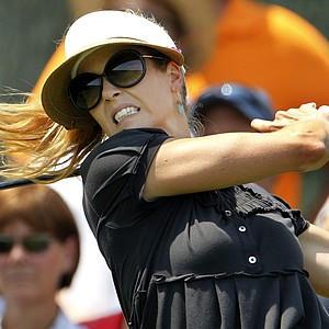 Anna Rawson hits a tee shot during a practice round at the U.S. Women's Open.