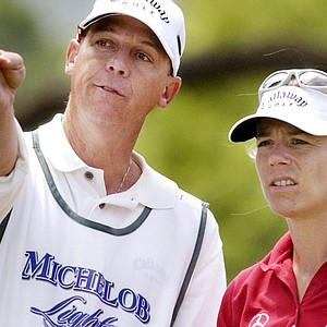 Annika Sorenstam and caddie Terry Mcnamara at the 2004 LPGA Corning Classic.