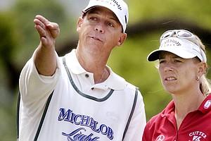 Annika Sorenstam and caddie Terry Mcnamara at the 2004 LPGA Corning Classic.