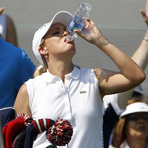 Cristie Kerr takes a drink while waiting to hit during a practice round at the U.S. Women's Open.