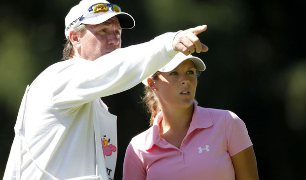 Mallory Blackwelder talks to her caddie during the first round of the Jamie Farr Owens Corning Classic.