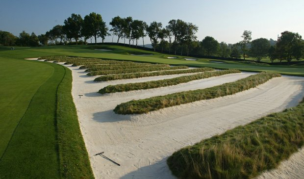 The church pew bunkes on the third hole at Oakmont Country Club.