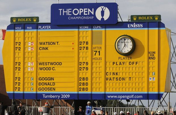 The leaderboard during a playoff between Tom Watson and Stewart Cink, following the final round of the 2009 British Open at Turnberry.