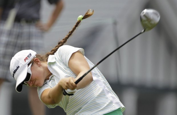 Amateur Victoria Tanco tees off during a practice round for the U.S. Women's Open.