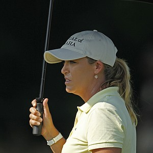 Cristie Kerr waits to tee off on the second hole during a practice round for the U.S. Women's Open.