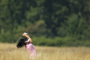 Shasta Averyhardt battles the Oakmont fescue during a practice round for the U.S. Women's Open.
