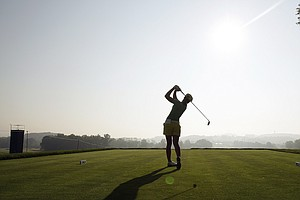 Vicky Hurst tees off on the first hole during a practice round for the U.S. Women's Open.