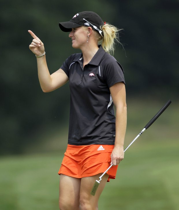 Kelli Shean reacts after making a birdie during the first round of the U.S. Women's Open.