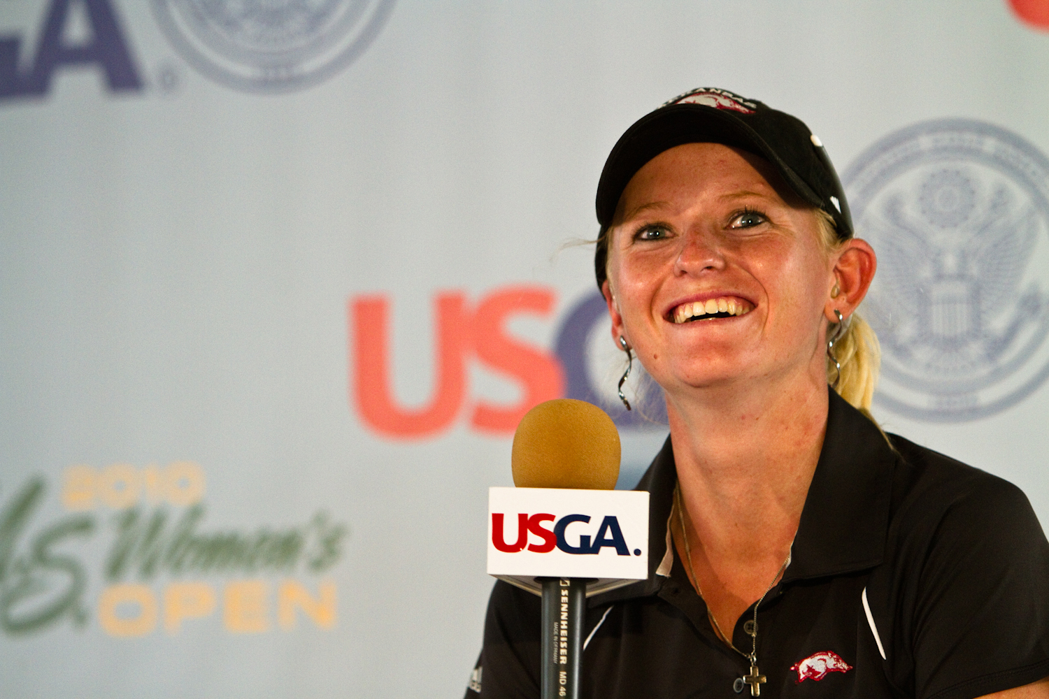 Amateur Kelli Shean answers questions following Round 1 at the U.S. Women's Open.