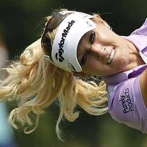 Natalie Gulbis watches a tee shot during the first round of the U.S. Women's Open.
