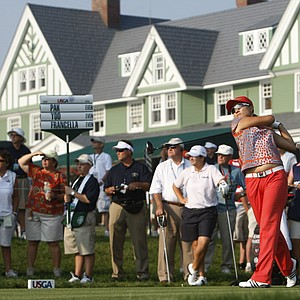 Se Ri Pak tees off on the 10th hole during the first round of the U.S. Women's Open.