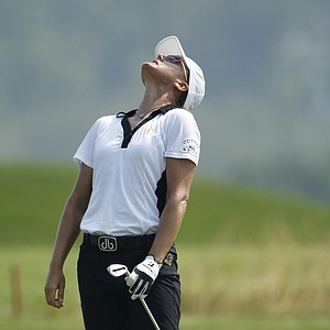 Sophie Gustafson reacts to a shot during the first round of the U.S. Women's Open.