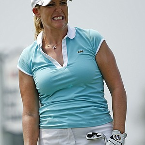 Cristie Kerr reacts to a tee shot on the sixth hole Friday at Oakmont.