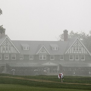 Heavy rain suspended the second round of the U.S. Women's Open at Oakmont.