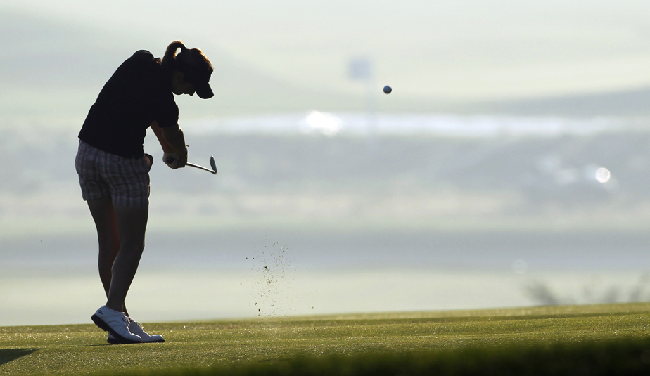 Lisa McCloskey plays a shot during a practice round for the U.S. Women's Open at Oakmont.