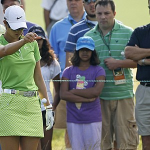 Michelle Wie takes a drop during Round 2 of the U.S. Women's Open.
