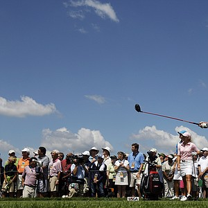 Paula Creamer tees off during Round 2 of the U.S. Women's Open.