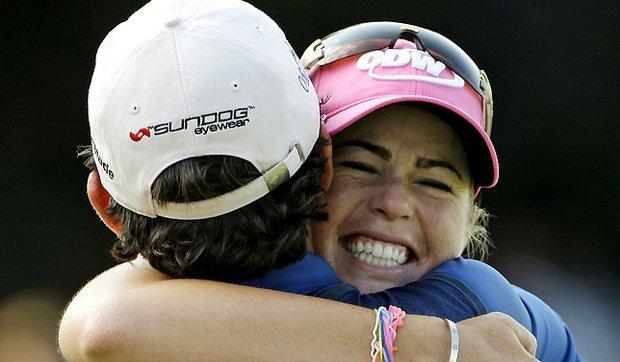 Paula Creamer hugs her caddie, Colin Cann, after winning the U.S. Women's Open.