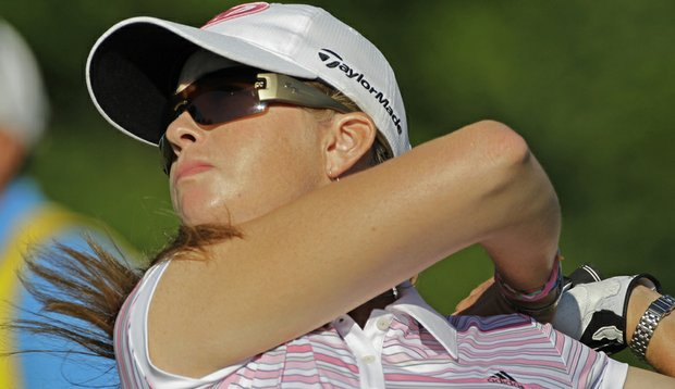 Paula Creamer tees off on the 17th hole in the third round of the U.S. Women's Open.