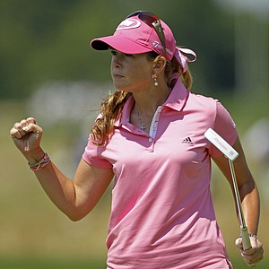 Paula Creamer reacts after saving par on the eighth green.