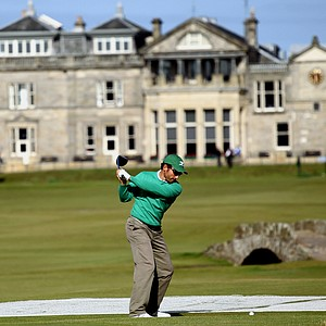 Ignacio Garrido tees off on the 18th hole at the Old Course, St. Andrews.
