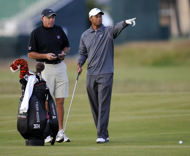 Tiger Woods during a practice round for the British Open at St. Andrews' Old Course.