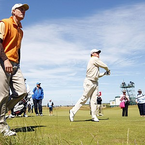Players took to St. Andrews Tuesday to get in some practice for the British Open.