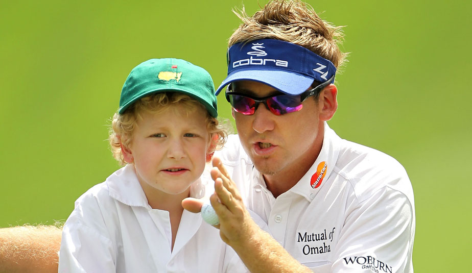 Ian Poulter with his son Luke at the 2010 Masters.